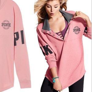 VS PINK Varsity Quarter Snap Sweatshirt Medium